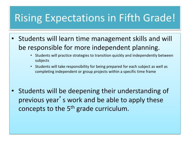 Rising Expectations in Fifth Grade!