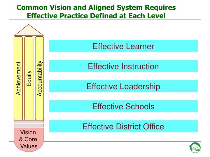 Common Vision and Aligned System Requires Effective Practice Defined at Each Level