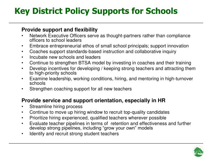 Key District Policy Supports for Schools