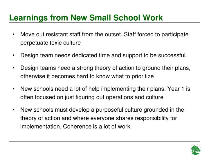Learnings from New Small School Work