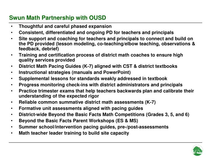 Swun Math Partnership with OUSD