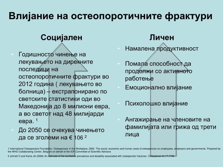 Годишносто чинење на лекувањето на дирекните последици на остеопоротичните фрактури во 2012 година