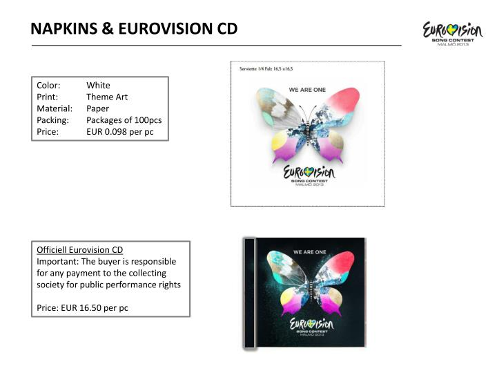 NAPKINS & EUROVISION CD