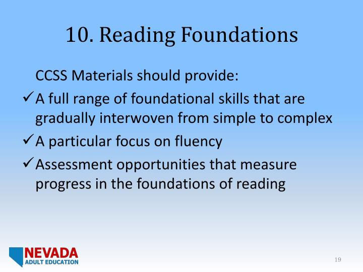10. Reading Foundations