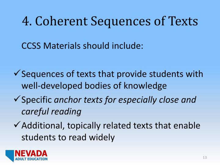 4. Coherent Sequences of Texts