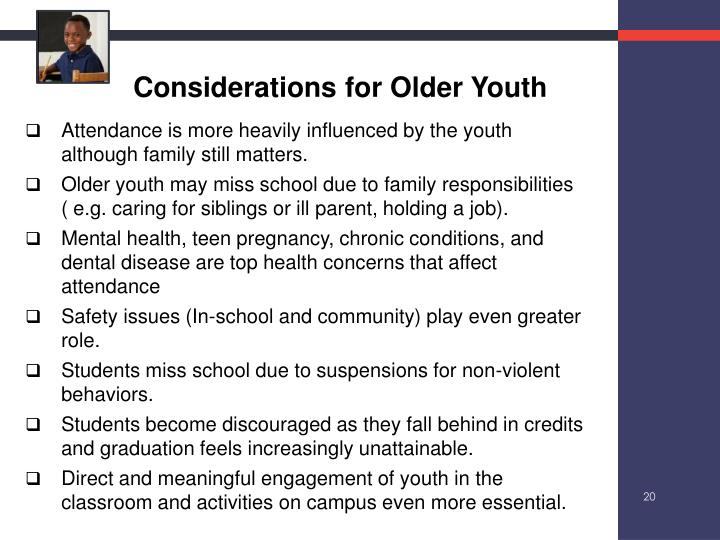 Considerations for Older Youth
