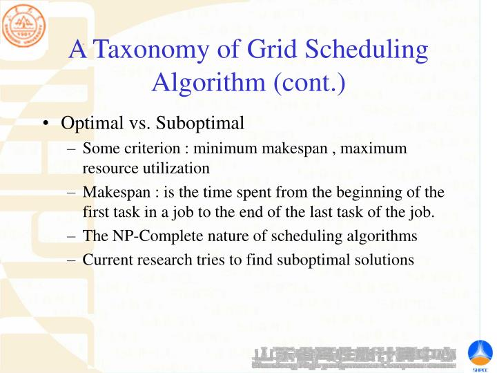 A Taxonomy of Grid Scheduling Algorithm (cont.)