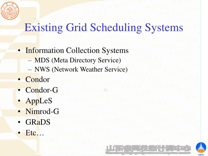 Existing Grid Scheduling Systems