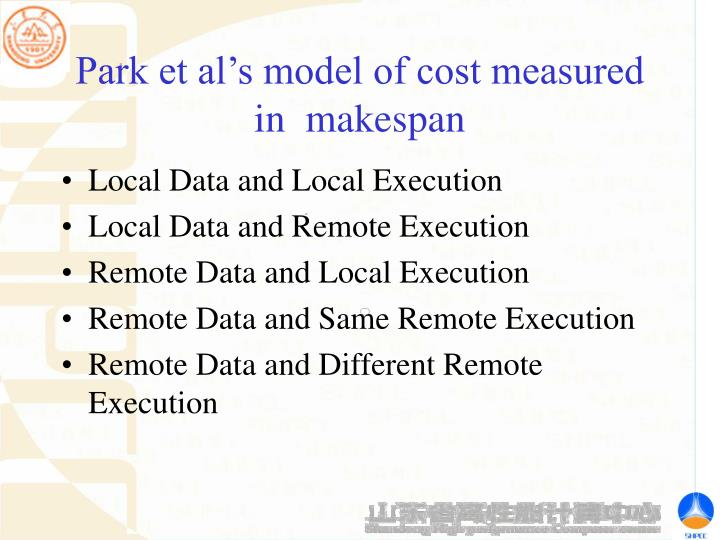 Park et al's model of cost measured in  makespan