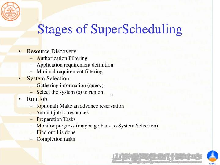 Stages of SuperScheduling