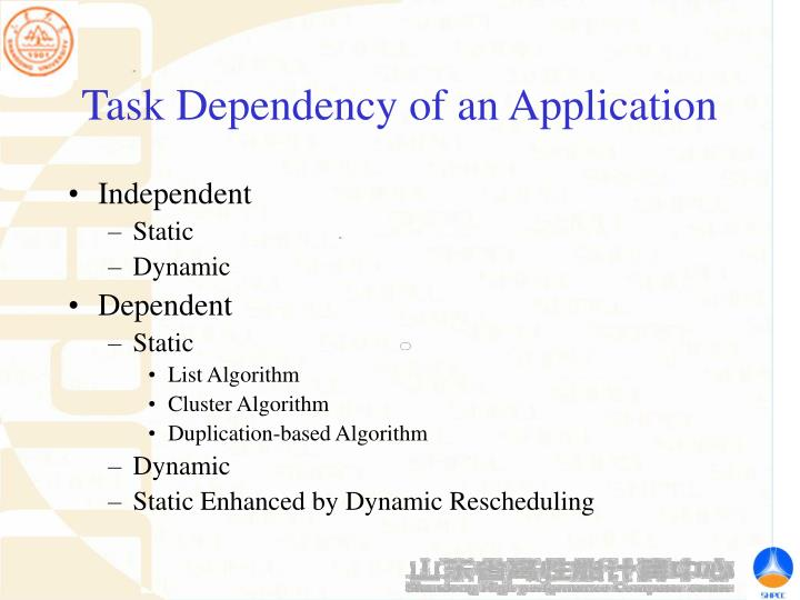 Task Dependency of an Application