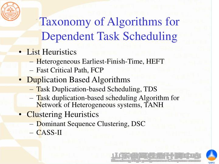 Taxonomy of Algorithms for Dependent Task Scheduling