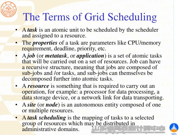 The Terms of Grid Scheduling