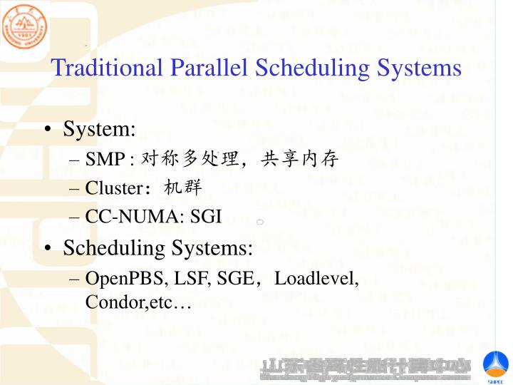 Traditional Parallel Scheduling Systems