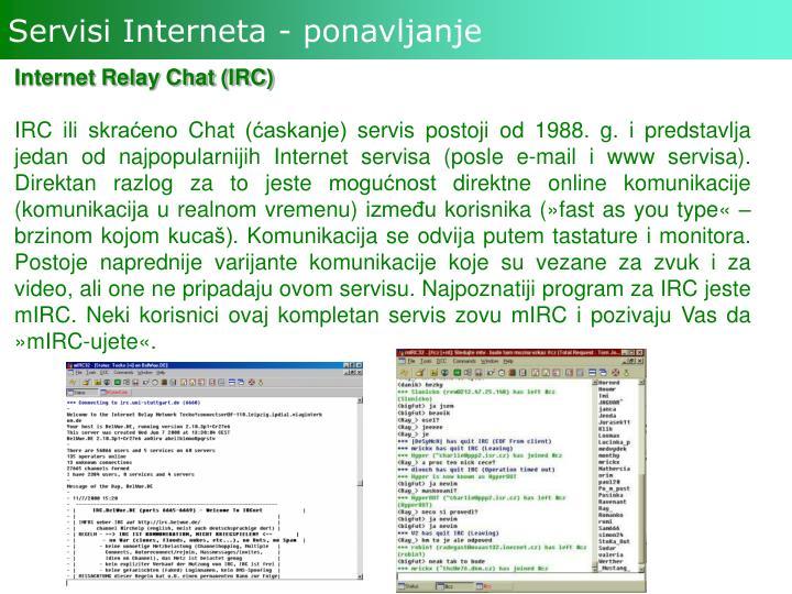 Servisi Interneta - ponavljanje