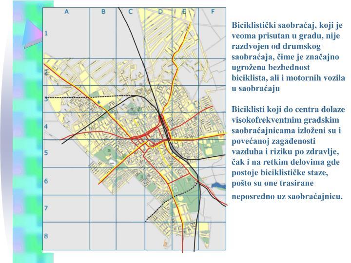 Biciklistički saobraćaj, koji je veoma prisutan u gradu, nije razdvojen od drumskog saobraćaja, čime je značajno ugrožena bezbednost biciklista, ali i motornih vozila u saobraćaju