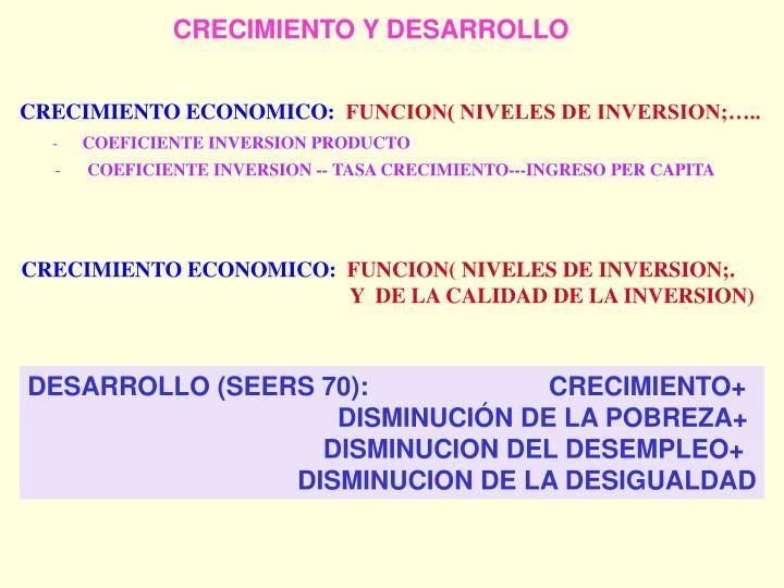 CRECIMIENTO ECONOMICO: