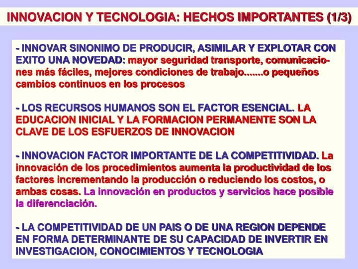 INNOVACION Y TECNOLOGIA: HECHOS IMPORTANTES (1/3)