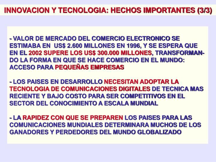 INNOVACION Y TECNOLOGIA: HECHOS IMPORTANTES (3/3)
