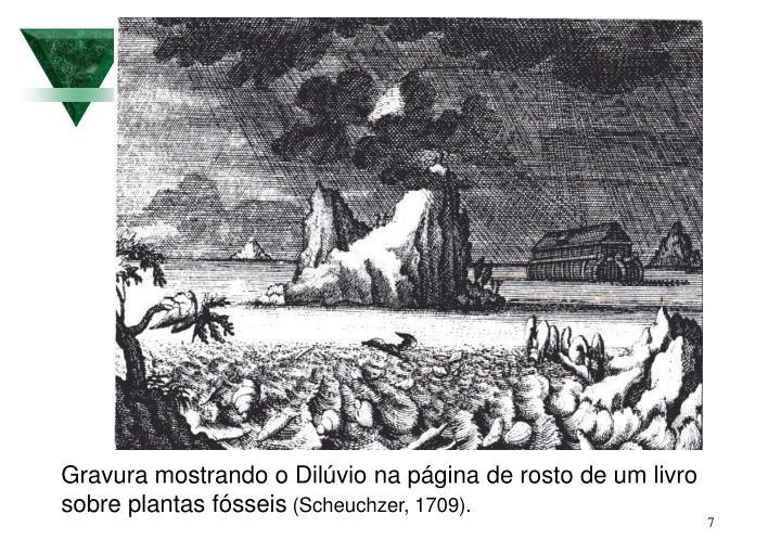 Gravura mostrando o Dilúvio na página de rosto de um livro sobre plantas fósseis