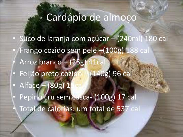 Cardápio de almoço