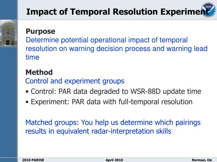 Impact of Temporal Resolution Experiment