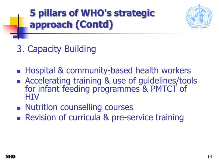 5 pillars of WHO's strategic approach