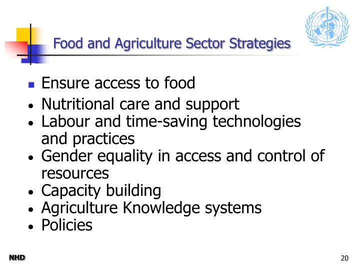 Food and Agriculture Sector Strategies