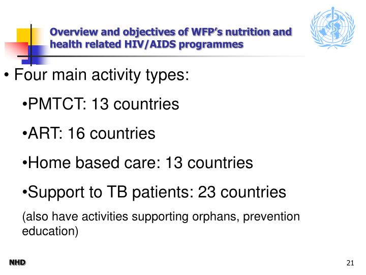 Overview and objectives of WFP's nutrition and health related HIV/AIDS programmes