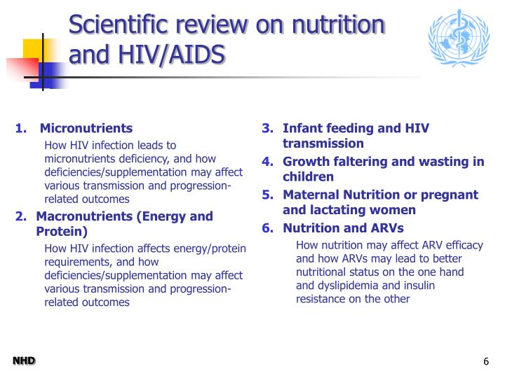 Scientific review on nutrition and HIV/AIDS