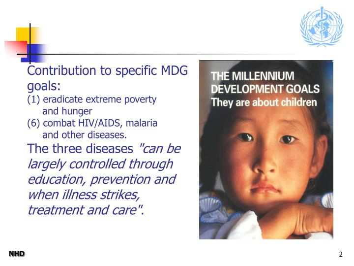 Contribution to specific MDG