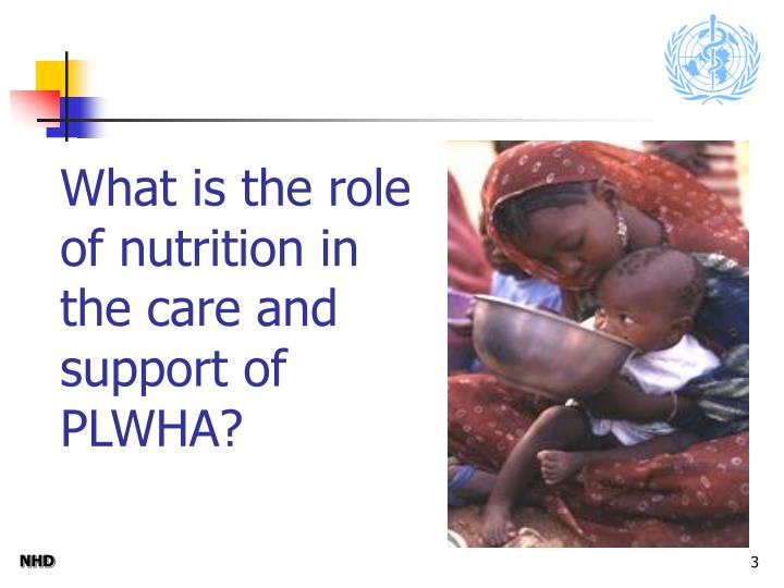 What is the role of nutrition in the care and support of PLWHA?