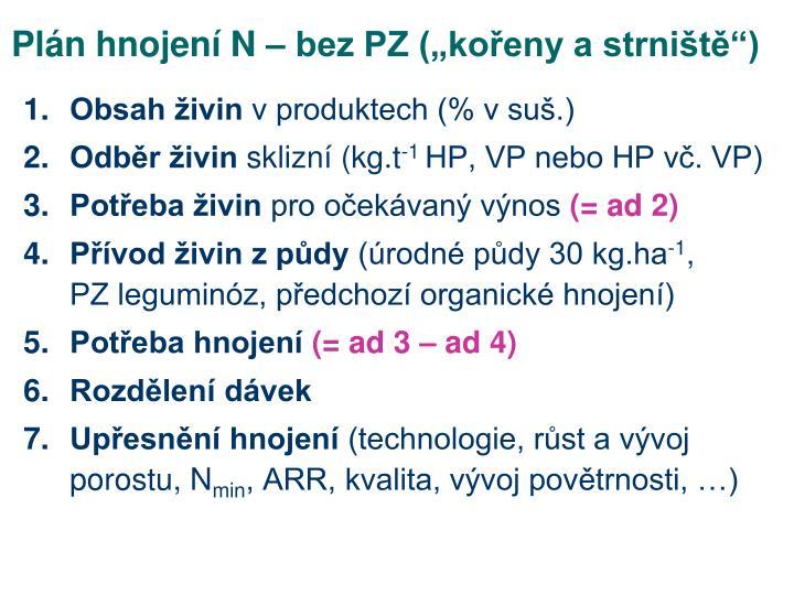 """Plán hnojení N – bez PZ (""""kořeny a strniště"""")"""