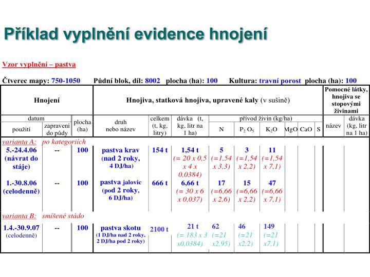 Příklad vyplnění evidence hnojení