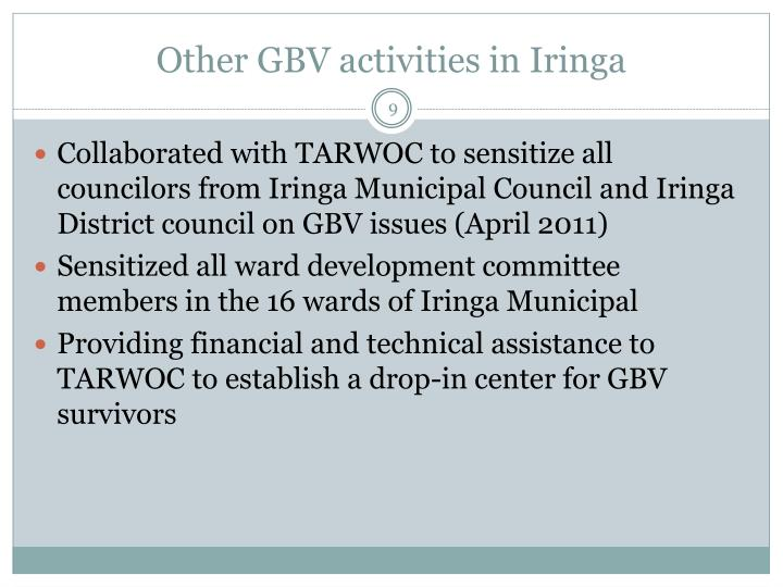 Other GBV activities in