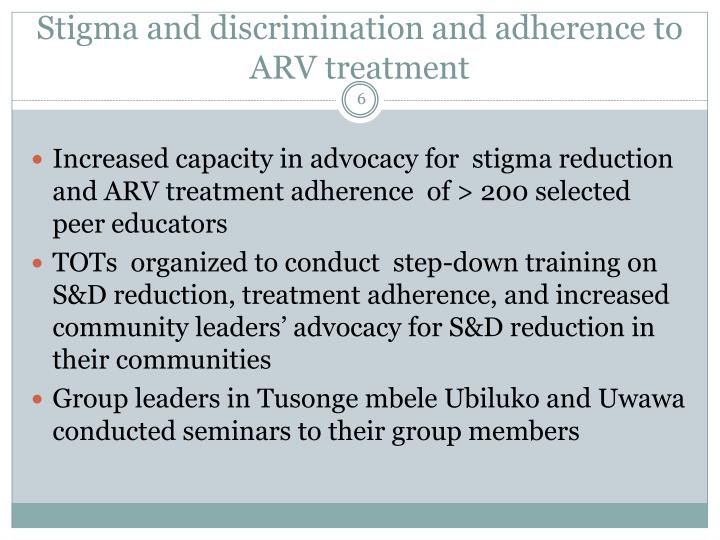 Stigma and discrimination and adherence to ARV treatment