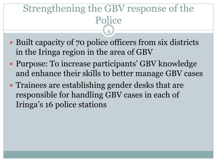 Strengthening the GBV response of the Police