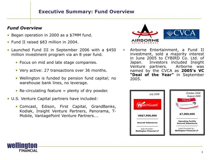 Executive summary fund overview