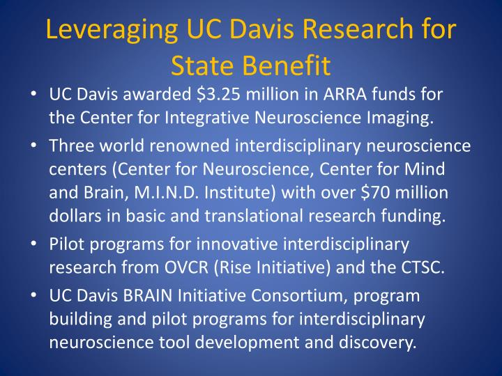Leveraging UC Davis Research for State Benefit