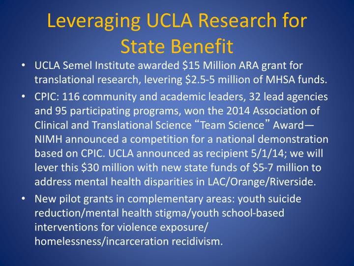 Leveraging UCLA Research for