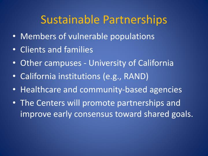 Sustainable Partnerships