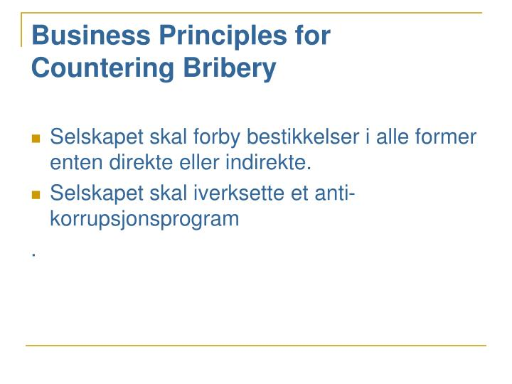 Business Principles for Countering Bribery