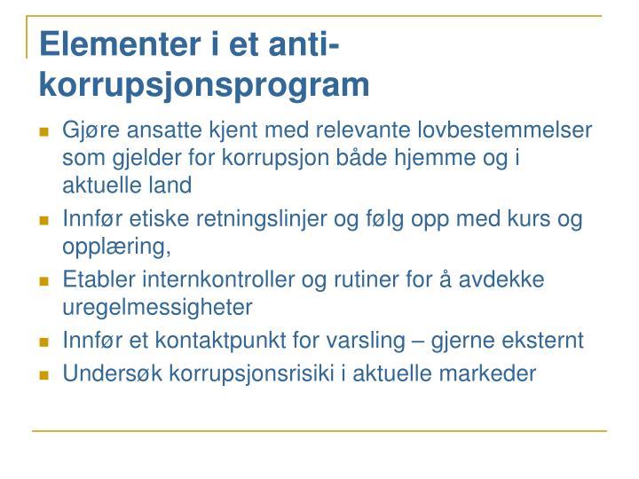 Elementer i et anti-korrupsjonsprogram