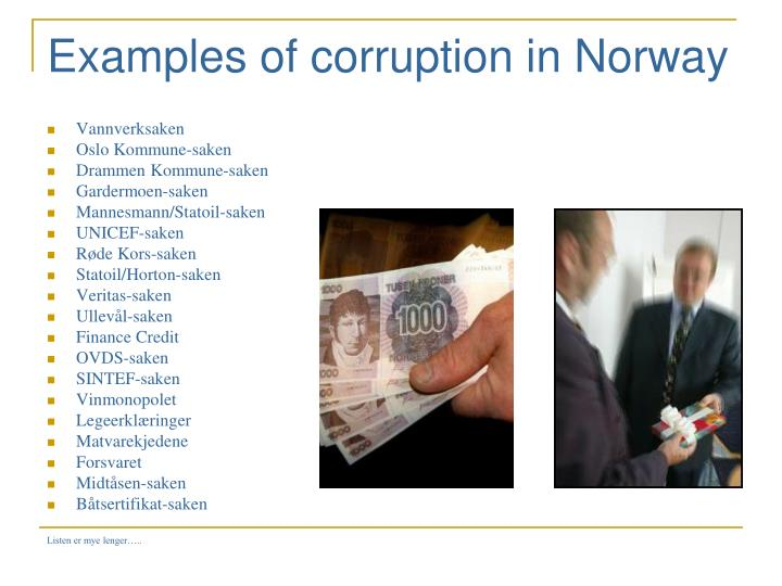Examples of corruption in Norway