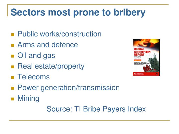 Sectors most prone to bribery