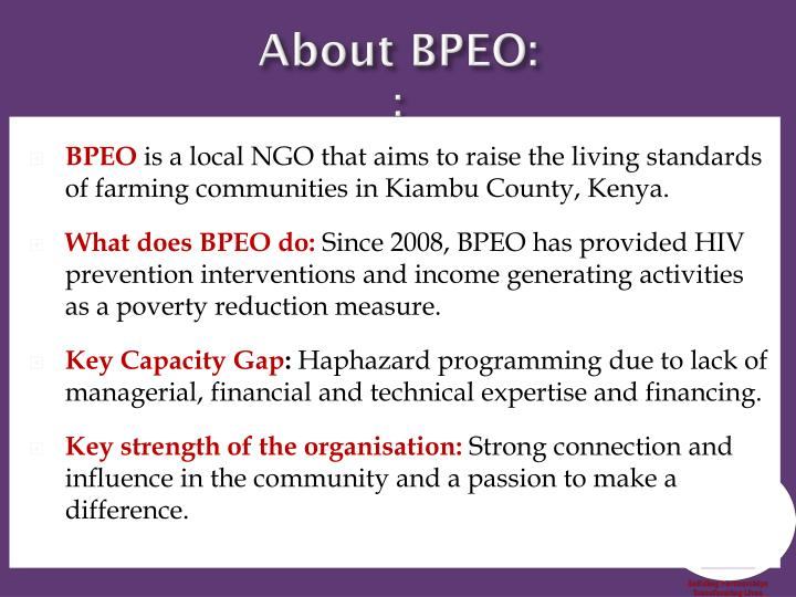 About BPEO: