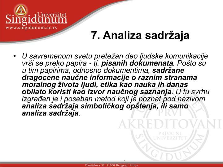7. Analiza sadržaja