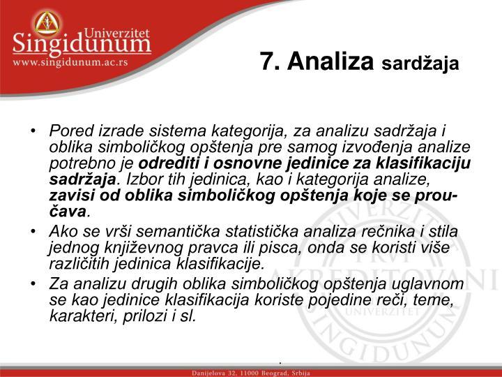 7. Analiza