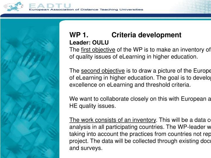 WP 1.Criteria development