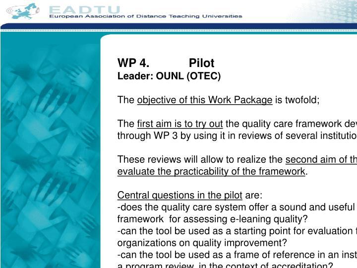 WP 4.Pilot